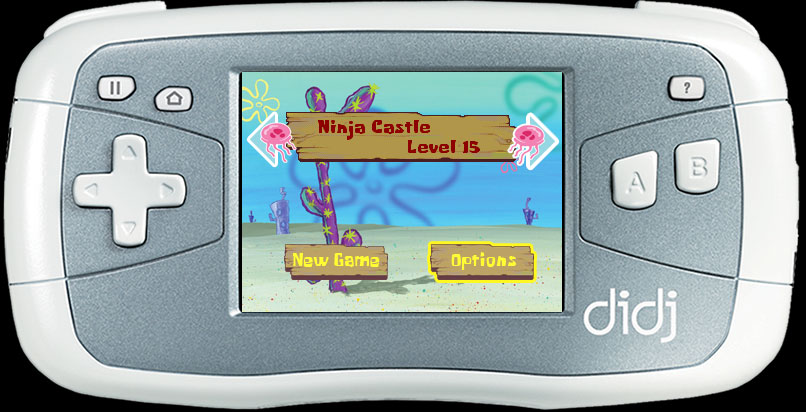 SpongeBob levels and options menu screen