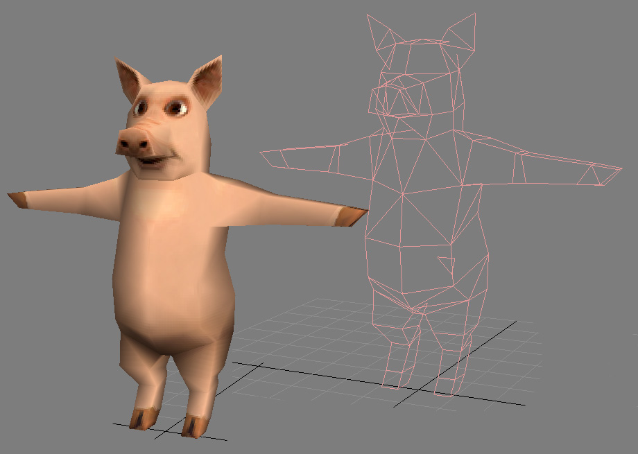 low poly pig character