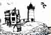 Nubble Lighthouse, Maine ~ ink drawing